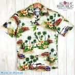 アロハシャツ メンズ ALOHA REPUBLIC クリーム/オールドハワイアン柄 ハワイ製 大きいサイズ有