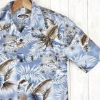 アロハシャツ メンズ アイスブルー Ice Blue 葉柄 PW HAWAII 大きいサイズ有 激安・格安 青/茶