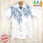 ショッピングアロハシャツ アロハシャツ メンズ ハワイ製 Winnie Fashion クリアホワイト/ブルーヤシの葉柄 ウィニーファッション・大きいサイズ有