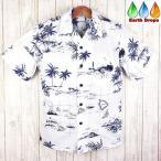 メンズ アロハシャツ PW HAWAII ホワイト/ヤシ/ハワイ諸島柄 ハワイ仕入 大きいサイズ有