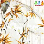ショッピングアロハシャツ アロハシャツ メンズ KY'S HAWAII社製 クリーム色/竹の葉柄 ハワイ製 コットン