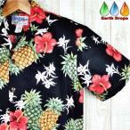 ショッピングアロハシャツ アロハシャツ メンズ KY'S HAWAII社製 パイナップル/ハイビスカス柄/ブラック ハワイ製 コットン