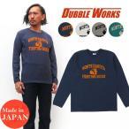 ダブルワークス DUBBLE WORKS 長袖 プリント Tシャツ バインダーネック NORTH DAKOTA コットン WW58001-02