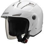 マルシン(MARUSHIN) バイクヘルメット ジェット バイザー付き M-385 ホワイトメタリック フリーサイズ(57~60CM)