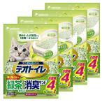 【4個セット】1週間消臭・抗菌デオトイレ 飛散らない緑茶成分入り・消臭サンド 4L×4袋