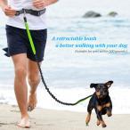 Yahoo!Ecandy-Japan犬用 リード 伸縮 反射光付きベルト 耐震性拡張 調節可能なウエスト ベルト ウォーキング  トレーニング対応 50キログラムまで対応 LOBKIN