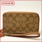 ショッピングシグネチャー コーチ COACH 財布 レディース シグネチャー PVC レザー ダブル ジップ フォン ウォレットF53937