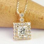 ダイヤモンド ネックレス ダイヤ ネックレス プリンセスカット K18 トータル 0.3カラット