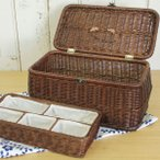 ソーイングボックス ラタン[HW-21][ソーイングボックス ラタン ソーイングバスケット アンティーク 北欧 かわいい 裁縫箱]籐製 小物入れ