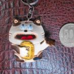 開運 縁起物 招き猫  レザークラフト 日本製 革製 キーホルダー 職人手作り プレゼントにお勧め! 大人気 可愛いい 限定品