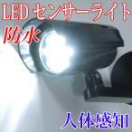 【入荷待ち】防水 人体感知 LEDセンサーライト 本体色:黒 昼白色 電池式 F-SSL