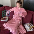 ネグリジェ もこもこパジャマ  冬 裏起毛 フワモコワンピースフレア  部屋着 厚手ルームウェア 長袖ルームウェア  あったか ナイトガウン 大人 可愛い ギフト