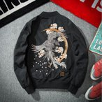 スカジャン 刺繍ジャケット 鳳凰刺繍スカジャン メンズブルゾン 和風 和柄フライトジャケット 春秋ジャケット 大きいサイズあり C70