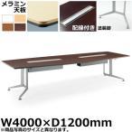 コクヨ 会議用テーブル WT-300シリーズ ボート形天板・メラミン 塗装脚 配線付きタイプ 幅4000×奥行1200mm WT-B315