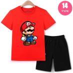 スーパーマリオ キッズ 半袖Tシャツ ショートパンツ セットアップ 女の子 男の子 半袖上下セット ショートパンツ コットン 夏 ロゴTシャツ