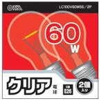 OHM クリア電球 60W LC100V60W55 2P 2コ入