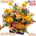 花 ギフト バースデー10月の誕生花 ビタミンオレンジアレンジ3,500円 送料無料  花言葉付き ガーベラ   写真付きメッセージ選択可