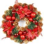 選べるクリスマスリース 40CM クリスマス花輪 ドア 玄関 庭園 玄関リース 部屋飾り ガーランド 壁飾り オーナメント デラックス お祝い 北欧風