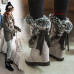 ムートンブーツ ファーブーツ ショットブーツ レディース ブーティー 厚底靴 歩きやすい インヒール ウエッジソール 秋冬 ハイヒール