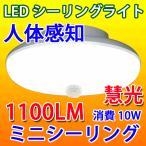 LEDシーリングライト 人感センサー付き 10W  1100LM 小型 送料無料 SCLG-10W