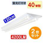 LEDベースライト  LED蛍光灯2本付 逆富士 40W型LED蛍光灯2灯式器具セット 昼白色 GFJ-120PZ-set
