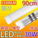 LED蛍光灯 90cm 30W型2本相当 器具一体型 直付 ledベースライト  6畳以上用 100V用 薄型 昼光色 it-30w