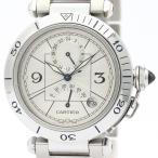 カルティエ  パシャ 38 GMT パワーリザーブ ステンレススチール 自動巻き メンズ 時計 W31037H3 【中古】