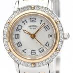 エルメス  クリッパー ダイヤモンド シェル文字盤 K18 ピンクゴールドプレート ステンレススチール クォーツ レディース 時計 CP1.222