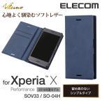 Xperia X Performance(SO-04H/SOV33)用 ソフトレザーケース/スライド ブルー┃PM-SOXPPLFSLBU アウトレット エレコムわけあり