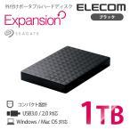 外付けポータブルハードディスク Seagate Expansion 高速転送USB3.0 データ保存/番組録画に最適 静音設計 ポータブルHDD ブラック 1TB┃SGP-NY010UBK エレコム