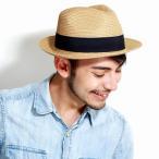 ストローハット 帽子 ハット メンズ レディース ペーパーブレード 中折れハット サイズ調整可 夏 ベージュ