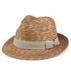 ショッピング夏 麦わら帽子 ボーダー柄リボン 中折れハット ブラウン