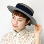 barairo no boushi カンカン帽 春夏 レディース シフォンリボン ハンドプレス バラ色の帽子 日本製 17SS ペーパーキャノエ/グレー