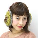 イヤーマフ ハンドメイド 秋冬 耳あて レディースbarairo no boushi ふわふわ 日本製 16AW バラ色の帽子 アメージングイヤーマフ / グレーxイエロー