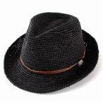 草帽 - ストローハット ハット メンズ レディース 麦わら帽子 中折れハット 夏 ラフィアハット 中折れ帽子 大きいサイズ あり ブラック 父の日