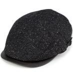 ハンチング HATBLOCK ハットブロック 帽子 秋冬 メンズ ネップツイード アイビーキャップ サイズ調整可 カジュアル帽子 日本製 ブラック