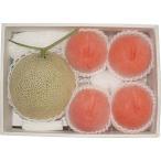 お中元 果物 赤果肉メロン&光センサー桃の詰合せ フルーツ 北海道 ギフト 詰め合わせ 贈り物 送料無料