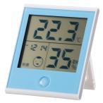 オーム電機 時計付き温湿度計 ブルー TEM-200-A 08-0021