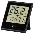 オーム電機 時計付き デジタル温湿度計 黒 TEM-210-K 08-0092