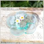 アジアン雑貨 手作りガラスのプルメリア型水盤 Sサイズ アジア工房