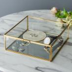ガラスと真鍮でできた鏡付き収納ケース Lサイズ