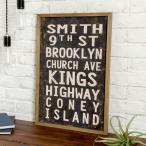 ジュートキャンバス ウォールアート サインボード 麻布 木 ヴィンテージ風 壁掛け 西海岸 飾り ブルックリン 男前