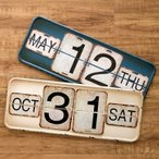 カレンダー ヴィンテージ風 日めくりカレンダー 卓上 壁掛け ウォールアート 2色展開 レトロ ブリキ ダメージ加工 毎年 オシャレ