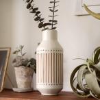 花瓶 フラワーベース 花壺 水入れ可 筒形 セラミック 白 ボトル アンティーク風 モロッカン モロカン シャビー シンプル 陶器製 生け花 いけばな 華道 リビング