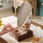 卓上ミラー 楕円形 オーバル型 鏡 真鍮フレーム 天然木 角度調整可 アンティーク調 化粧鏡 おしゃれ メイク 66900