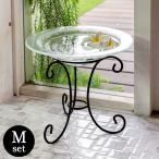 ガラスのアジアン水盤MサイズとアイアンスタンドMサイズのセット ガラスの水盆 ガラスのボウル アジアン雑貨 アジアンインテリア アジア雑貨 set-10039