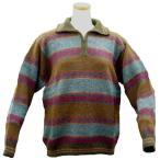 ALCF-013 アルパカ100%セーター ファスナー付 丸首 幾何学柄 男性 暖かい 綺麗