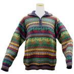 ALCF-014 アルパカ100%セーター ファスナー付 丸首 幾何学柄 男性 暖かい 綺麗