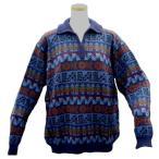 ALCF-015 アルパカ100%セーター ファスナー付 丸首 幾何学柄 男性 暖かい 綺麗