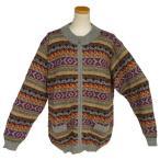 ALCF-021 アルパカ100%セーター ファスナー付 丸首 幾何学柄 男性 暖かい 綺麗